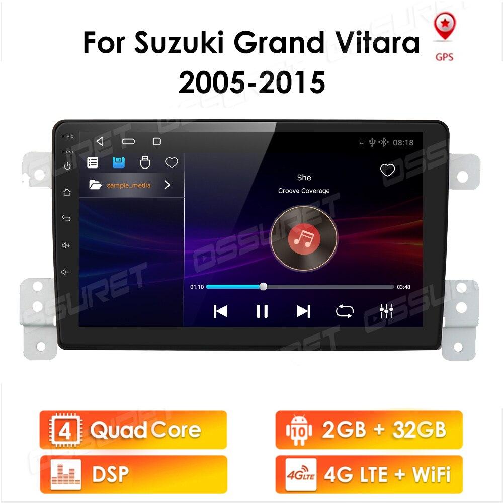 2 din android 10 rádio do carro 2 + 32 para suzuki grand vitara 2005-2015 2din sistema de multimídia da tela de navegação estéreo do carro de áudio automático