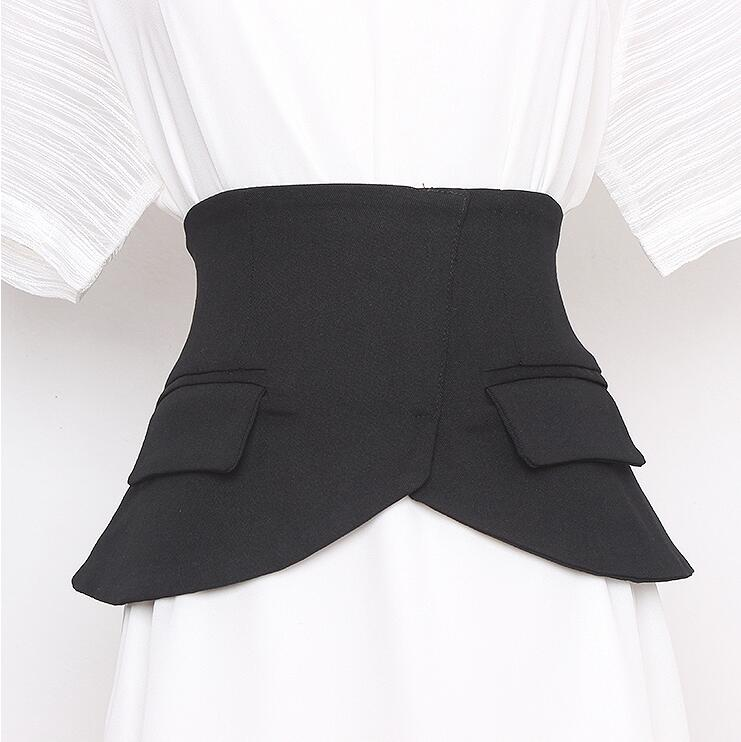 Women's Runway Fashion Black Fabric Elastic Cummerbunds Female Dress Corsets Waistband Belts Decoration Wide Belt R537
