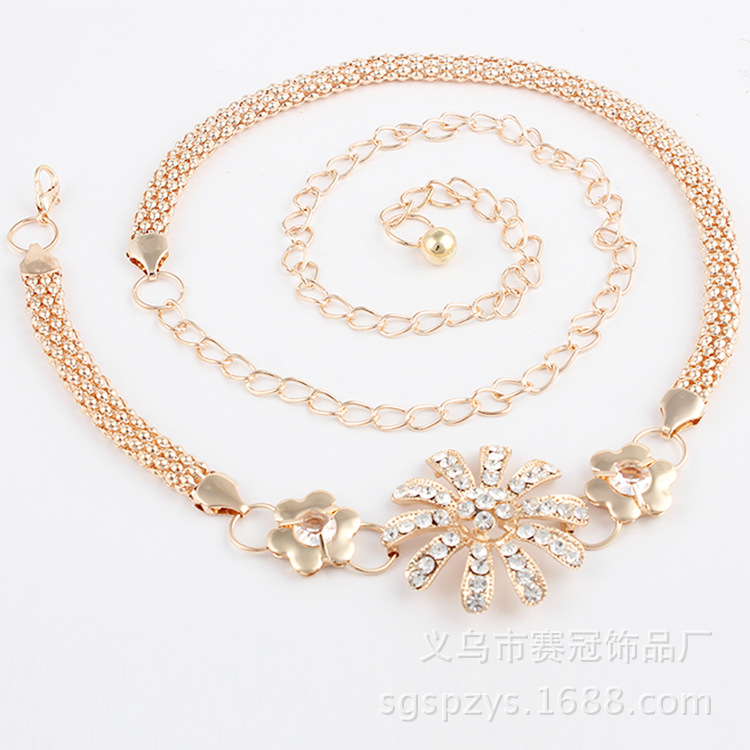 New Style Flower Belt Accessories Metal Dress Chain Belt Korean-style Customizable Man-made Diamond Flower Women's Waist