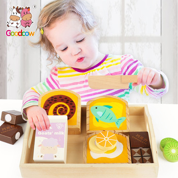 Wooden toy children cut fruit bread game house play home early education cognitive toys exercise baby coordination gift simulation soft silicone baby dolls photography props pregnancy early education utensil children play house toys l633