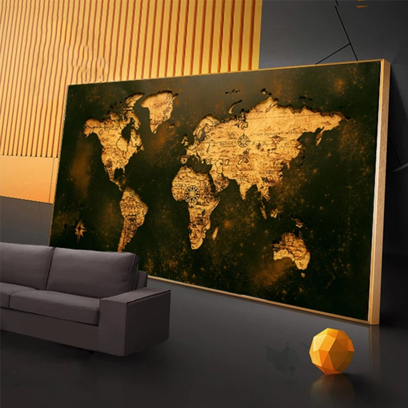 Modern art picture black gold world map classical style canvas painting abstract mural modern home corridor decoration painting