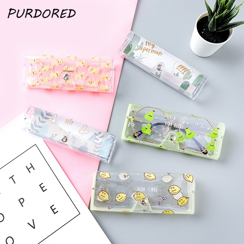 PURDORED 1 Pc Portable Cartoon  Glasses Bag Transparent PVC Eye Glasses Bag Case Clear Eye Bag Travel Accessories Dropshipping