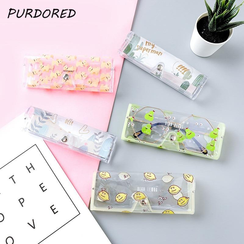 PURDORED 1 Pc Portable Cartoon  Glasses Bag Transparent PVC Eye Glasses Bag Case Clear Eye Bag Travel Accessories Dropshipping