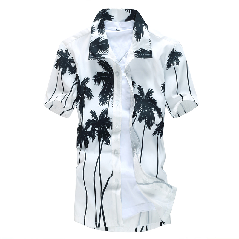 Aloha Hawaiian Shirt Men Clothes 2020 Summer Camisa Havaiana Shirts Coconut Tree Printed Short Sleeve Mens Sandy Beach Wear 5XL