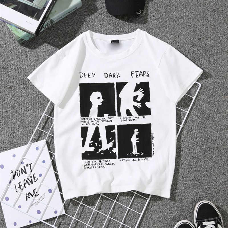 תוספות (עמוק כהה פחדים) בלעדי מקורי חדש אופנה נשים גרפי Tees Harajuku קוריאני סגנון בגדי נשים חולצת טי הדפסת עיצוב