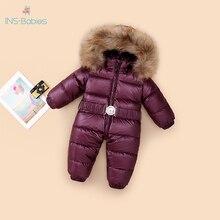 803 חורף סרבל ברווז למטה מעילי תינוק ילד 12M 4Y חורף מעיל לילדים תינוק בגדי בנות חליפת שלג חם תינוקות