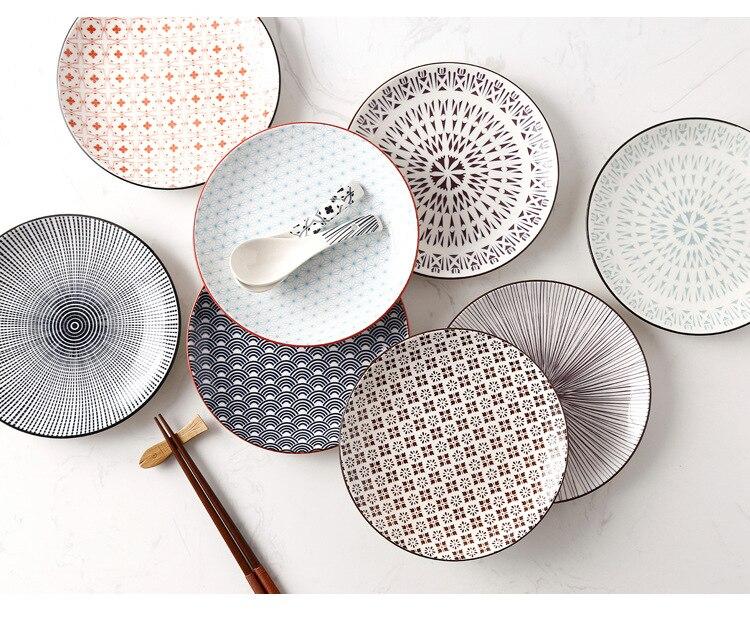 Креативный японский стиль 8 керамическая тарелка дюймовая посуда для завтрака говядины десертное блюдо для закусок простое мелкое блюдо домашнее блюдо для стейков