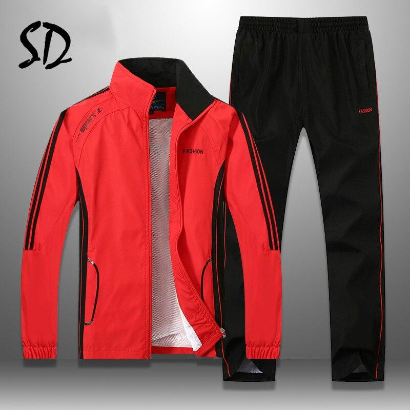 Men Tracksuit Striped Autumn Winter Slim Fit Mens Set Windproof Outwear Jacket Sweatpants Two Piece Set Men's Sportswear M-5XL
