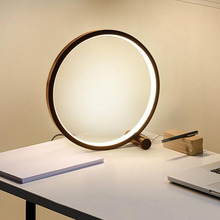 Светодиодный настольная лампа для Спальня круглая акриловая Настольная лампа для Гостиная черный/белый затемнения прикроватный светильни...