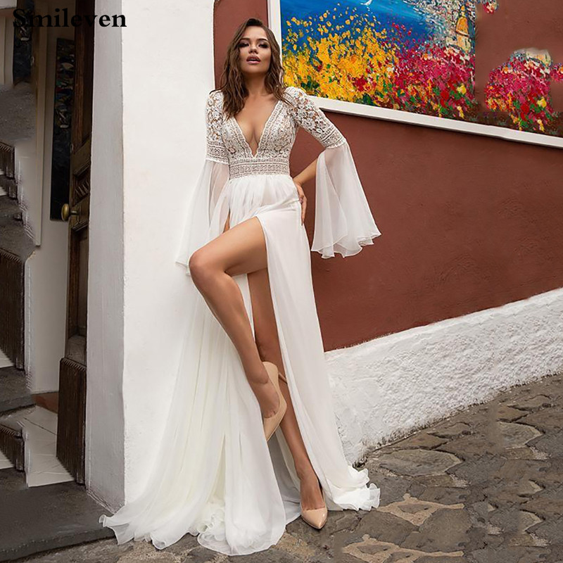 Smileven Wedding Dresses Flare Sleeve High Side Split Beach Lace Bride Dresses Sexy  V Neck Boho Bridal Gowns Vestidos De Novia