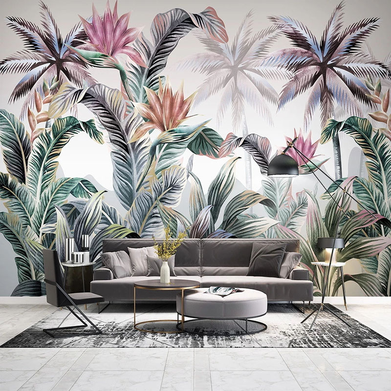 Custom Mural Wallpaper 3D Hand-painted Tropical Plants Leaf Wall Painting Living Room TV Bedroom Background Wall Decor Frescoes