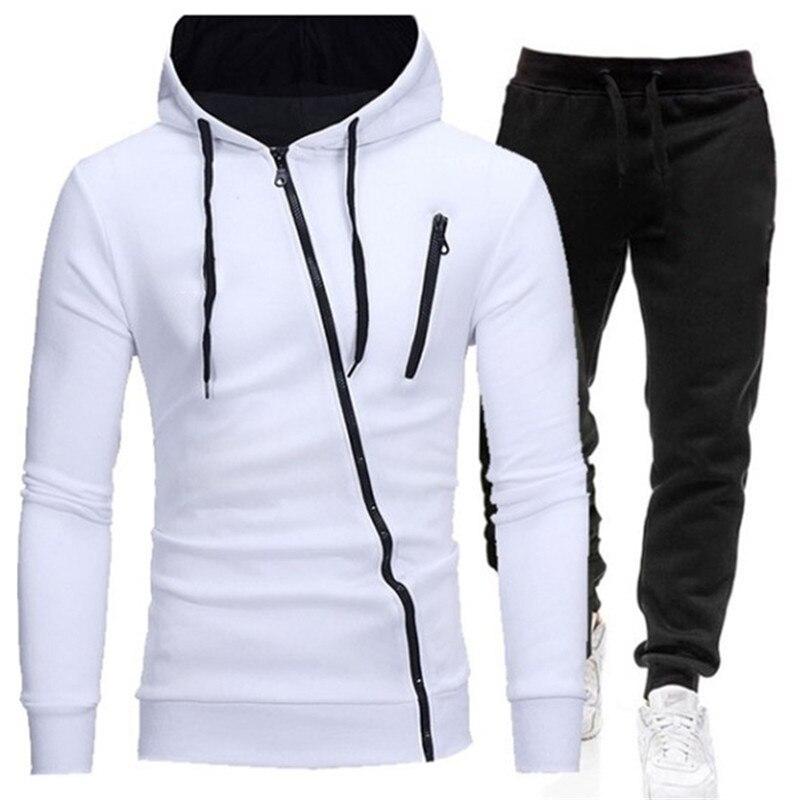 Winter Men's Tracksuit 2 Pieces Set Hoodies+Pants Sport Suits for Men Sweatshirt Zipper Hoodies Men's Clothing Sets Sportswear
