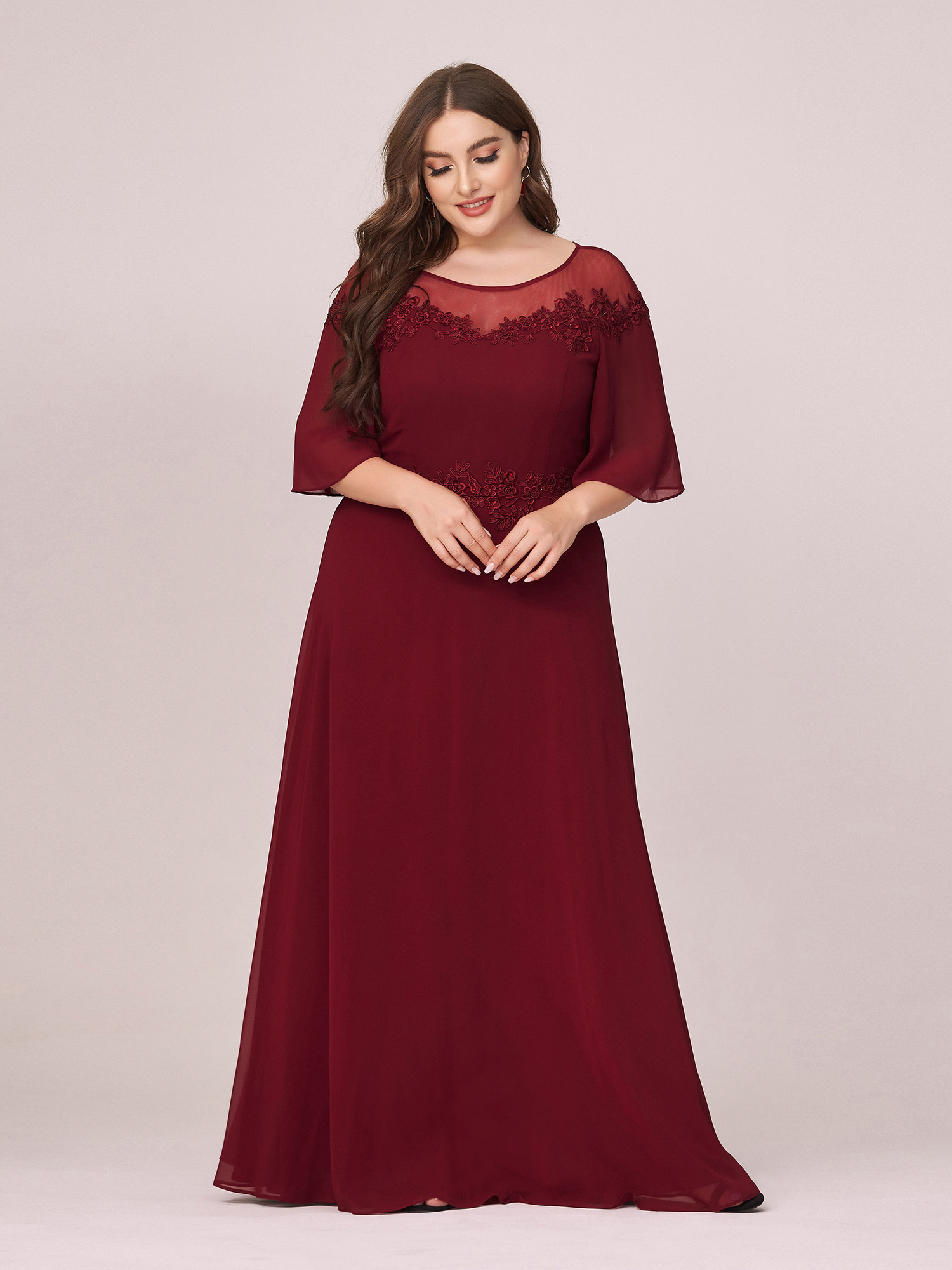 Party-Gowns Mother-Of-The-Bride-Dresses O-Neck Chiffon Plus-Size Ever Appliques A-Line