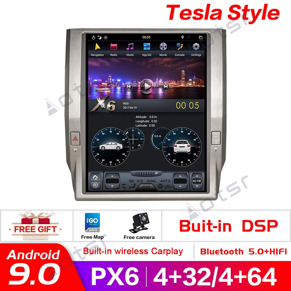 Android 9.0 Vertical sceen Tesla style Car GPS Navigation For Toyota Tundra 2014+ headunit Multimedia player radio tape recorder image