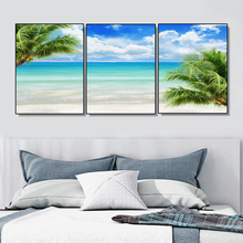 Laeacco Tropical Palm Tree Seaside Posters Wall Art Charts Pictures Abstract Canvas Paintings on the Nordic Home Decoration