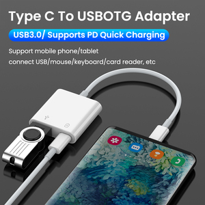 Image 2 - 2 In 1 Type C OTG Adapter 18W DP QC Fast Charge Cable Converter Type C To USB3.0/USB C Charging Splitter For Xiaomi 10 Huawei