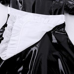 Image 5 - Женский костюм для косплея французской горничной для взрослых, вечерние платья трапециевидной формы с пышными рукавами из лакированной кожи с фартуком и повязкой на голову