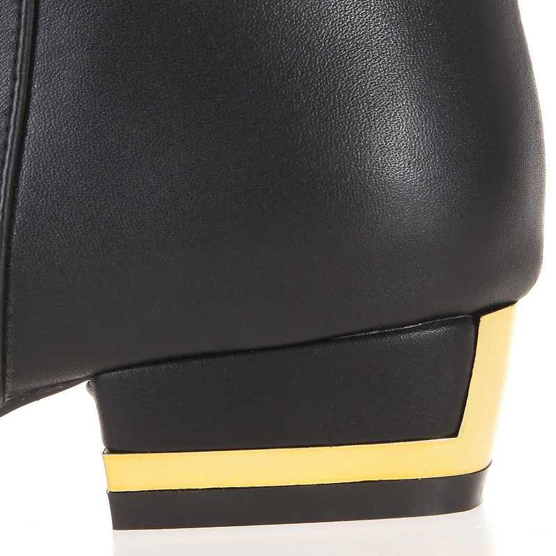 Kadın kış hakiki deri düşük topuk yuvarlak ayak toka moda diz üstü çizmeler artı boyutu 33-45 SXQ1007