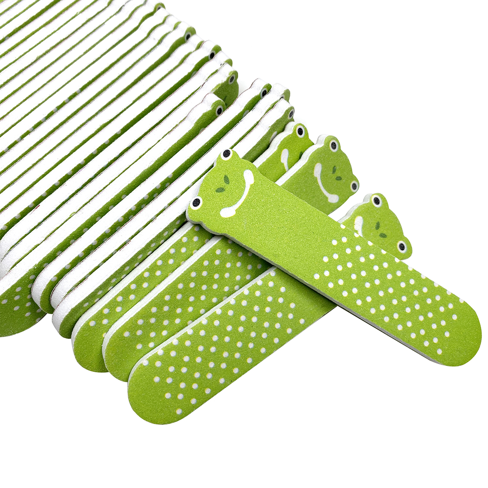 10Pcs Mini Small Nail File Set Green Frog Shaping Buffing UV Gel Nails File Buffer Block Manicure Nail Art Tool Accessory