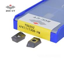 50pcs APKT11T308 PM YBG202 APKT 11T308 PM APKT11T308 ZCC.CT ביצרו קרביד כרסום הכנס חיובי מוסיף