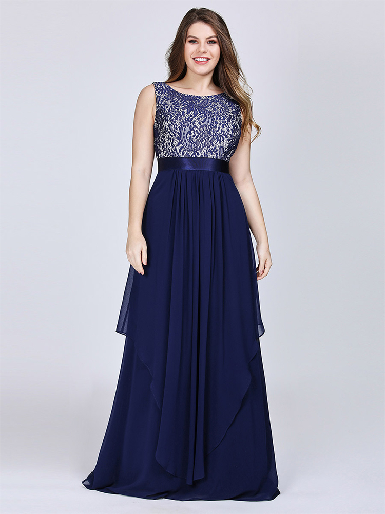 Bridesmaid-Dresses Party-Gowns Ever Pretty Wedding Floral Elegant Plus-Size Sleeveless