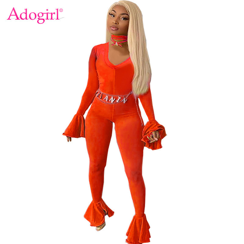 Adogirl Women Sexy Solid Flare Jumpsuit Deep V Neck Long Bell Sleeve Casual Romper Foot But Pants 2019 Autumn Fashion Overalls