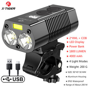 X-TIGER 4000mAh Bicycle Light 1800 Lumens MTB Cycling Front Flashlight Power Display Mountain Bike Light USB Rechargeable Led