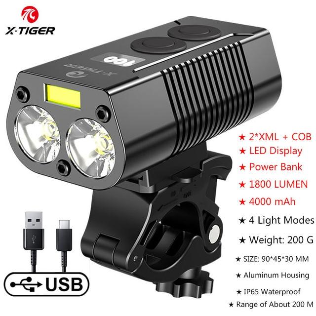 X TIGER 4000mAh Bicycle Light 1800 Lumens MTB Cycling Front Flashlight Power Display Mountain Bike Light USB Rechargeable Led