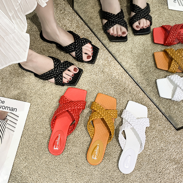 Rimocy Soft Leather Woven Slippers  5