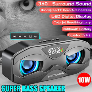 M5 Cool Owl Design Bluetooth Speaker LED Flash Wireless Loudspeaker FM Radio Alarm Clock radio TF Support Select Songs By Number