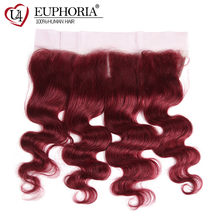 13x4 Body Wave Lace Frontal 99J Burgundy Red Borwn 30 33 Color Peruvian Remy Human Hair Lace Closure With Baby Hair Euphoria(China)