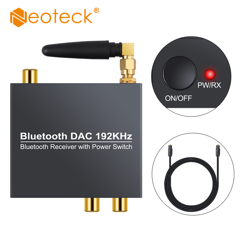 Neoteck Bluetooth DAC With Power On Off Button 192 Khz Digital to Analog <font><b>Audio</b></font> Converter Adapter <font><b>Optical</b></font> Coaxial To RCA <font><b>3.5mm</b></font> image