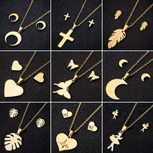 Simple Curved Crescent Moon Necklace Pendant Stainless Steel Jewelry for Women Bohemia Leaf Ballet Cross Necklaces Jewelry Gifts