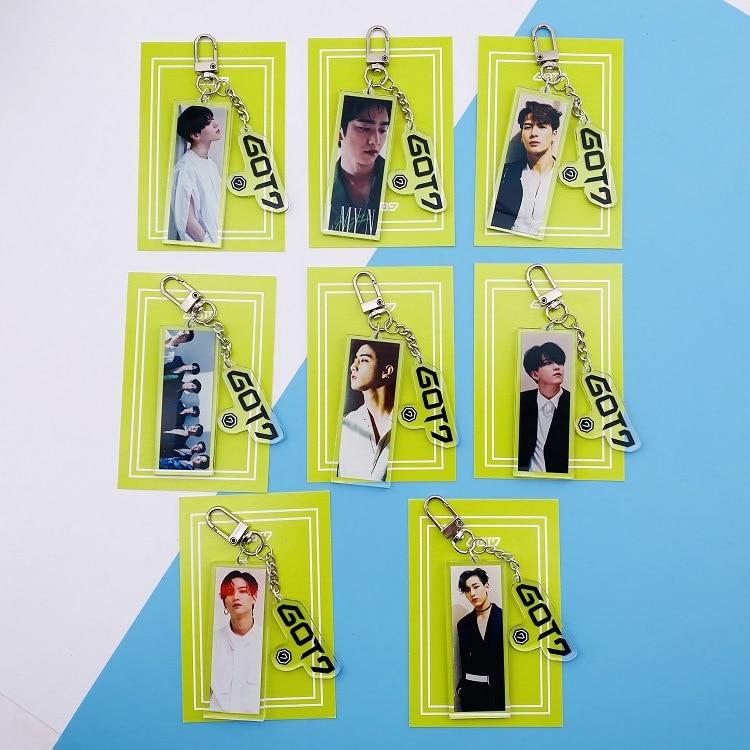 Kpop GOT7 Album Photo Key Chain New Concert Keychain GOT7 Photo Pendant Around New New Album Photo Poster Pendant Key Ring Kpop