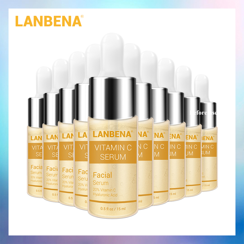 LANBENA Vitamin C Whitening Serum Hyaluronic Acid Face Cream Snail Remover Freckle Speckle Fade Dark Spots Anti-Aging 10PCS