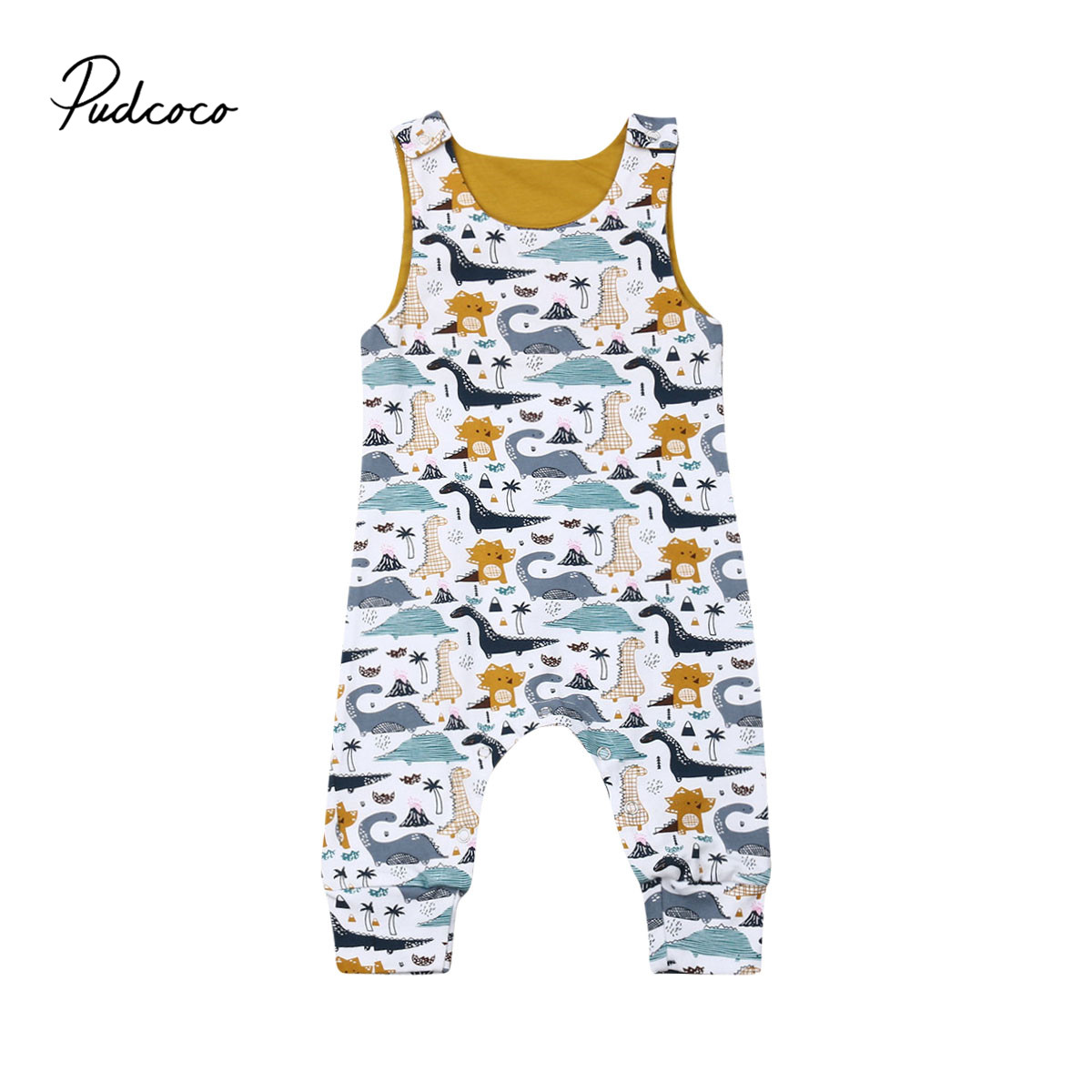 Pudcoco Baby Girl Rompers Autumn Winter Newborn Baby Clothes Toddler Sleeveless Dinosaur Romper Jumpsuit One-Piece