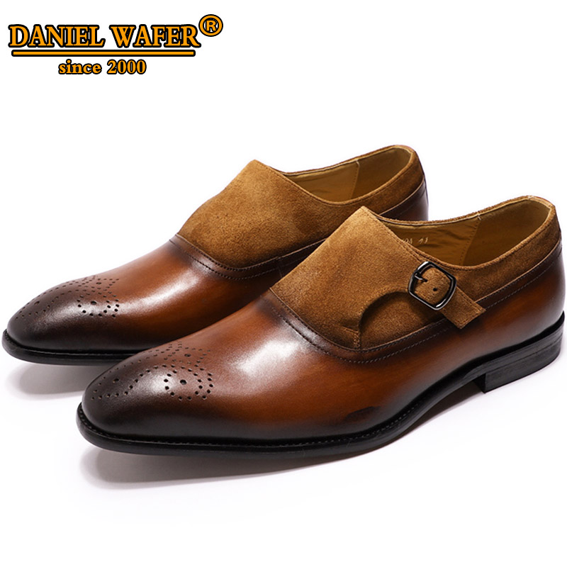 LUXURY BRAND MEN SHOES LEATHER  BUSINESS OFFICE BLACK BROWN SHOES BUCKLE STRAP POINTED TOE MEDALLION LOAFERS FORMAL SHOES MEN