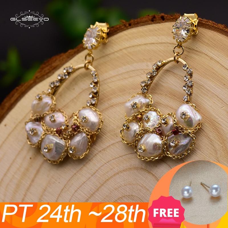 GLSEEVO 925 Silver Ear Pin Natural Fresh Water Baroque Pearl Drop Earrings For Women Wedding Dangle Earrings Jewellery GE0324