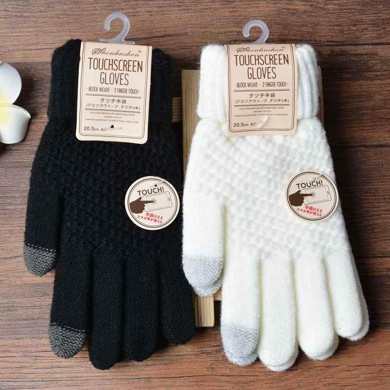 2019 ฤดูหนาวสัมผัสหน้าจอถุงมือผู้หญิงผู้ชายยืดถัก Mittens ขนสัตว์เทียม Full Finger Guantes หญิงถัก Thicken
