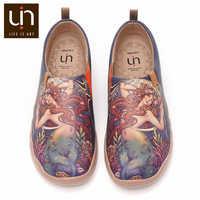 UIN Die Kleine Meerjungfrau Kunst Gemalt Mikrofaser Leder Loafers für Frauen Komfort Runde Kappe Schuhe Weichen Gehen Sneaker Leichte