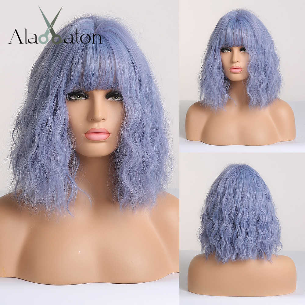 ALAN EATON Short Water Wave Synthetic Hair Wig For Women Heat Resistant Fiber Light Blue Costume Cosplay Lolita Wig With Bangs