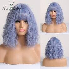 앨런 EATON 짧은 물 웨이브 합성 머리 가발 여성을위한 내열성 섬유 라이트 블루 의상 코스프레 로리타 가발과 Bangs