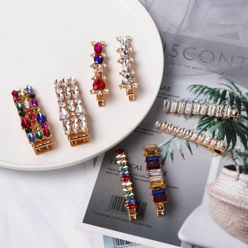 Xugar Girls Full Rhinestone Hair Clips Diamond Colorful Hairpins For Women Kids Drill Fashion Barrettes Womens Hair Accessories
