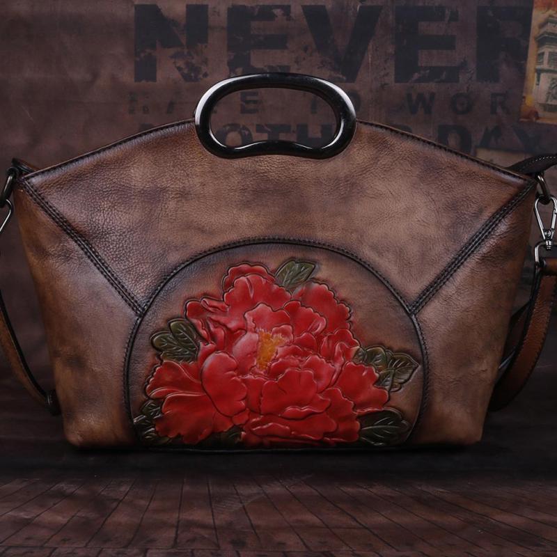 Image 2 - Johnature Luxury Handbags Women Bags Vintage High Quality Genuine  Leather 2020 New Handmade Embossing Shoulder