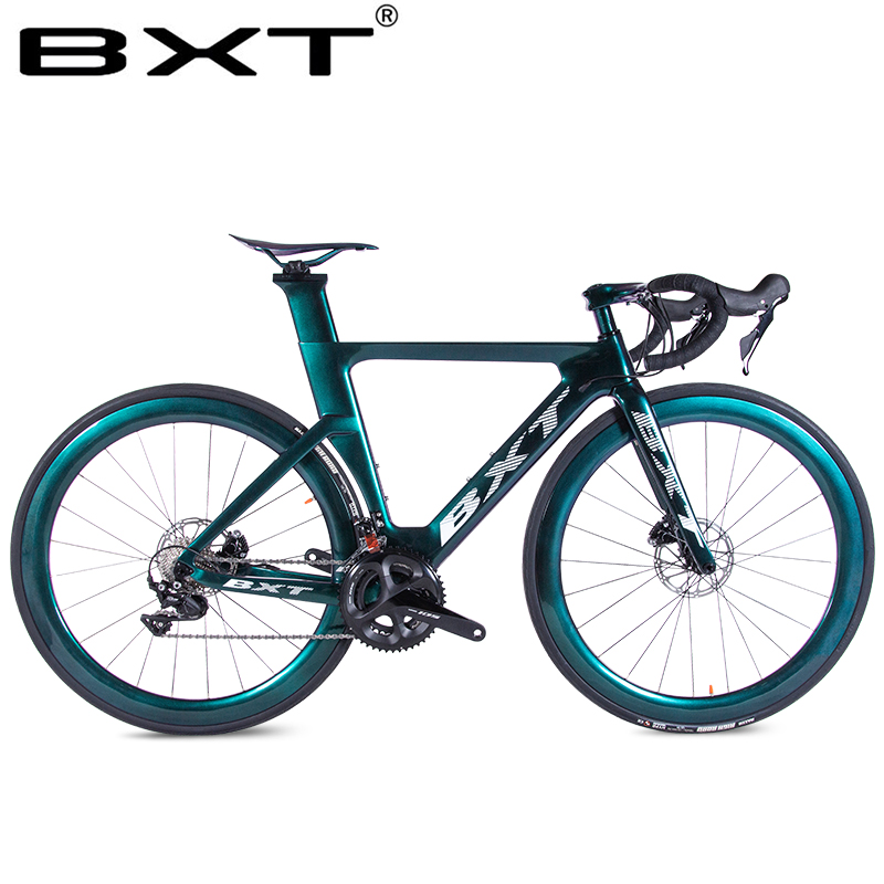 BXT Carbon Fiber Road Bike Super Light T800 Carbon Road Bike Frame+fork Complete Bicycle Racing Bike With Disk Crank Set 2x11s