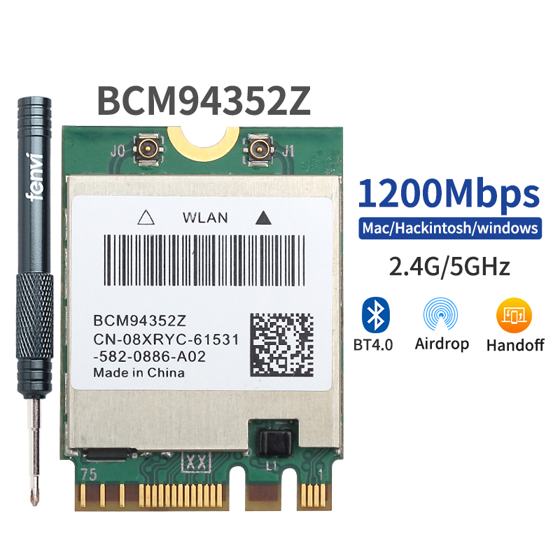 Hackintosh MacOS BCM94352Z BCM94360NG DW1560 M.2 Wifi Adapter Wireless 1200Mbps 802,11 ac 2,4 Ghz/5G Bluetooth 4,0 NGFF karte