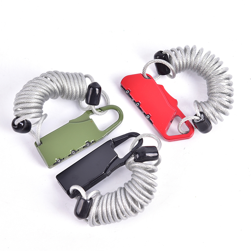 Bike Lock Spring Disc Cable Wire Security Lock Portable Spring Anti-theft Bicycle Code Lock Mini 3 Digits Combination Password