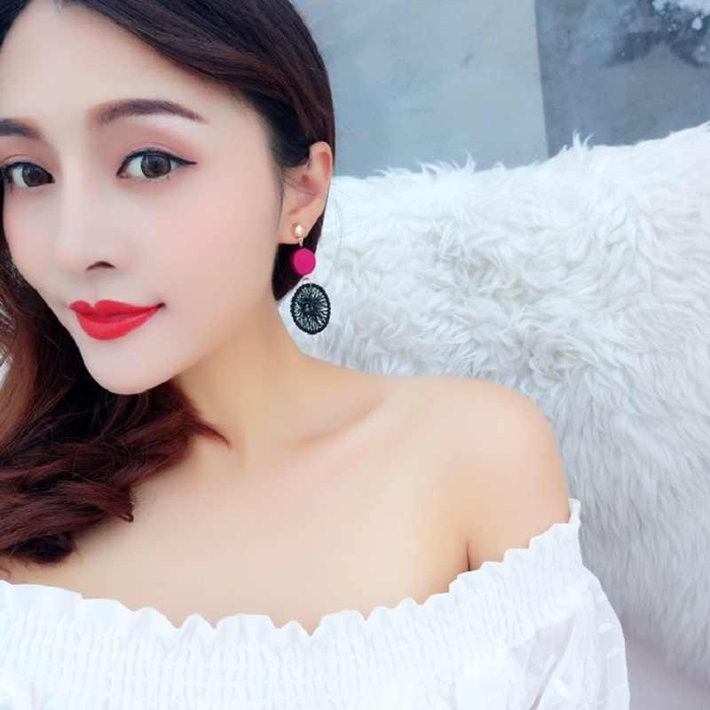 แฟชั่นเกาหลีไม้กลมกลมวงกลมหวายฟางสาน Dreamcatcher ต่างหูผู้หญิงจับ Monternet
