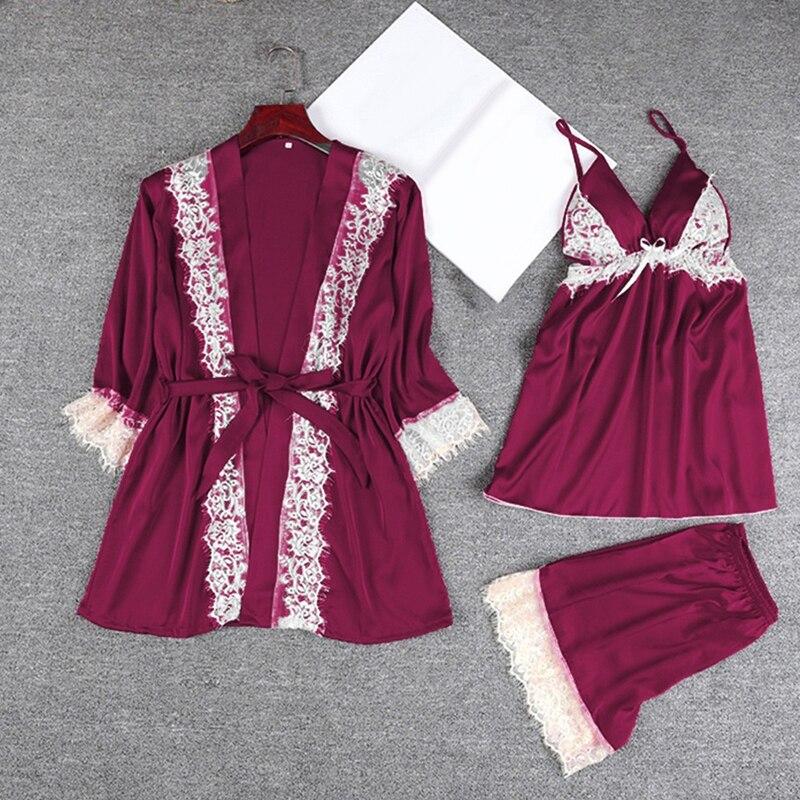 Women's Suits Sleepwear Sling Pajamas Sexy Fashion Home Service Coat+Sling+Shorts 3pcs Set Ladies Pajamas