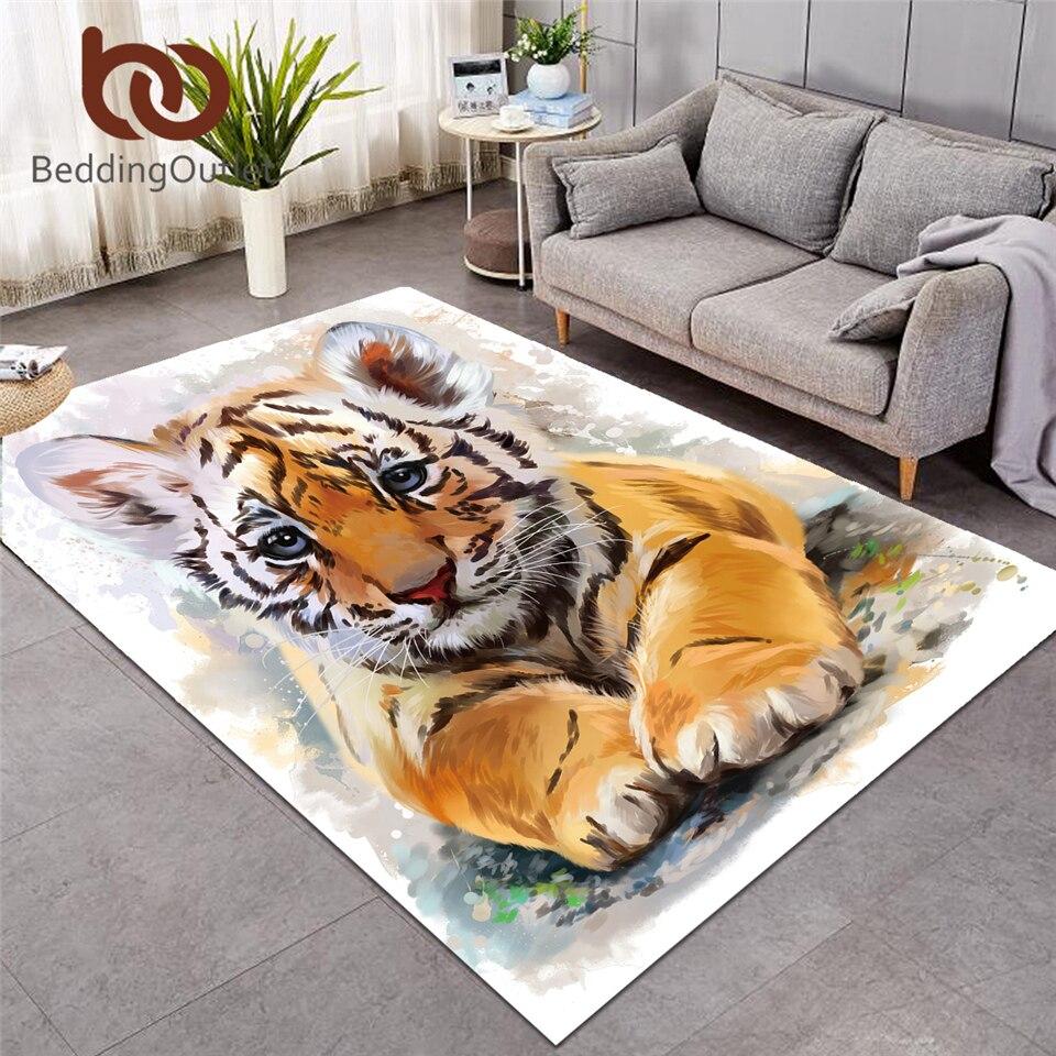 BeddingOutlet tigre tapis de zone bébé aquarelle tapis de salon Animal sauvage tapis de sol antidérapant noir blanc tapis décor à la maison tapis